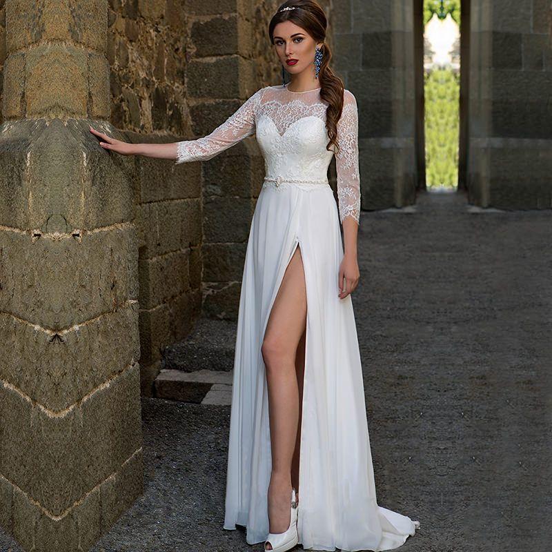 da440e3df5 vestidos-de-noiva-simples-com-fenda-e-manga-rendada-para-você-se-inspirar-32