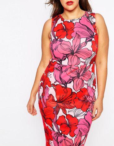 Asos Plus Size Midi Sukienka W Kwiaty Bodycon Dress Dresses Body Conscious Dress