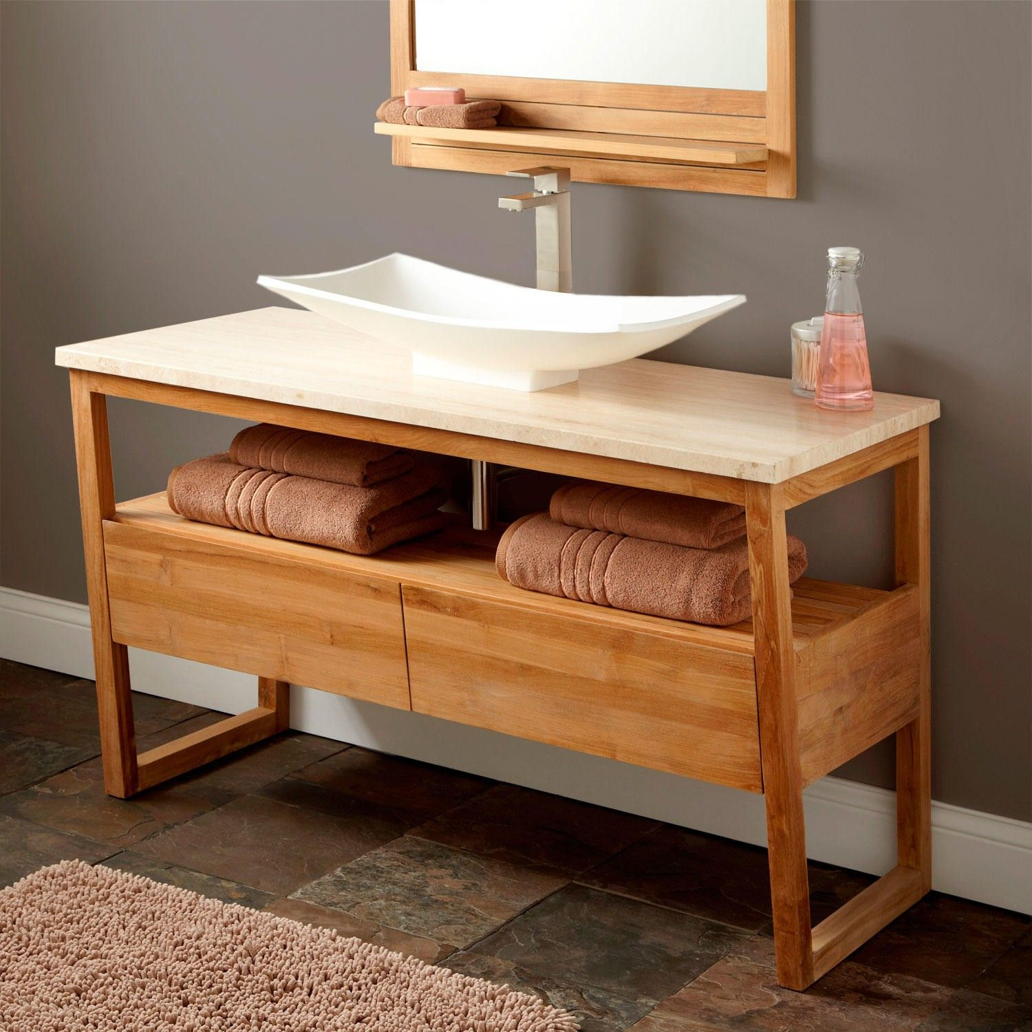 This Coulda Been It If It Came A Little Longer. 48 Emzen Teak Console  Vanity For Vessel Sink. Find This Pin And More On First Ave   Kitchen And  Bath ...