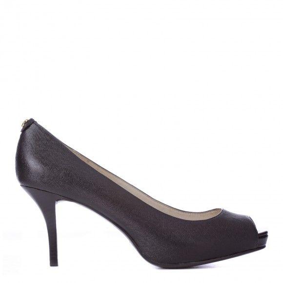 11b4c6c03411 Black Leather Peep Toe Shoes 8cm Heel Size 8 - Michael Kors - Private sales