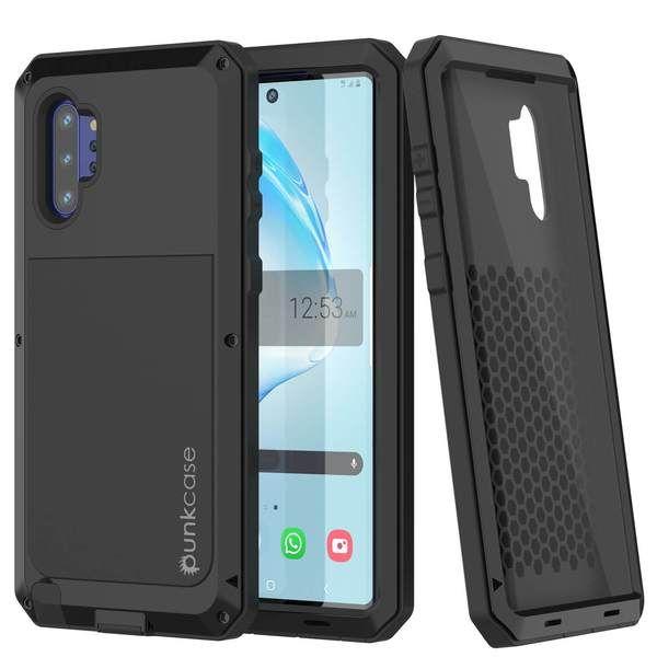 Galaxy Note 10+ Plus Case, PUNKcase Metallic Black Shockproof  Slim Metal Armor Case [Black]