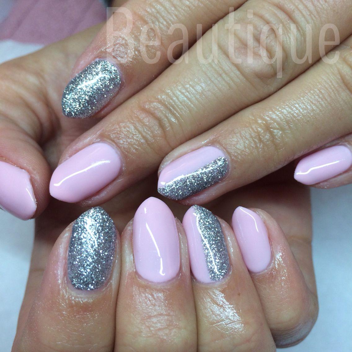 Cal Gel Nail: Calgel Nails. Baby Pink And Glitter X