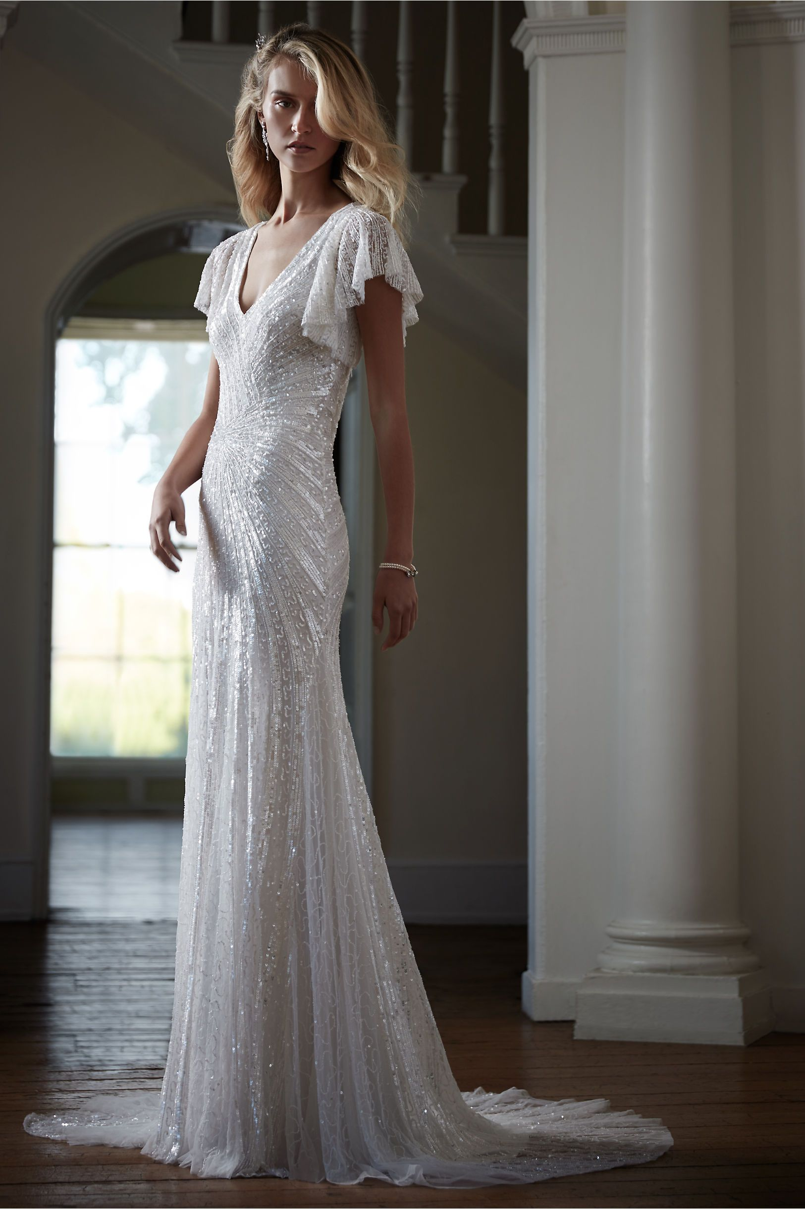 Inspired By Golden Age Glamour This Silver Beaded Wedding Dress Looks Effortlessly Elegant Against Any Backdrop Cibella Gown From Bhldn