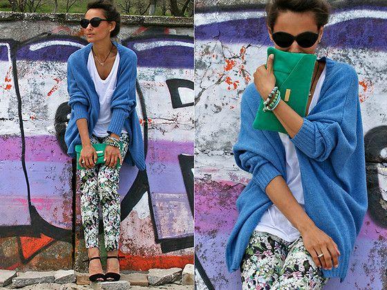Flowers on pants - green in hands (by Galant-Girl Ellena) http://lookbook.nu/look/3396457-Flowers-on-pants-green-in-hands
