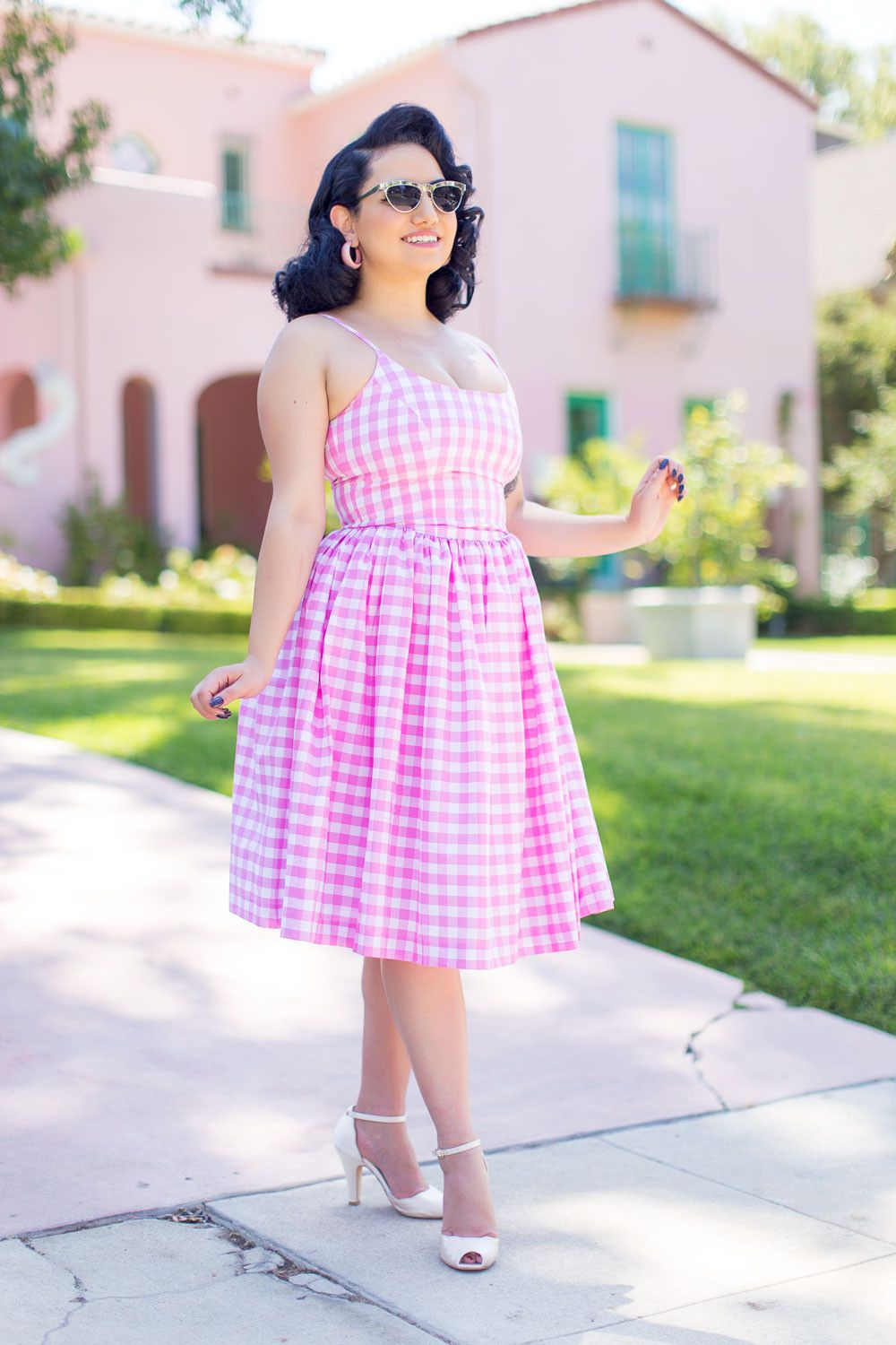 Penelope Dress in Pink Gingham