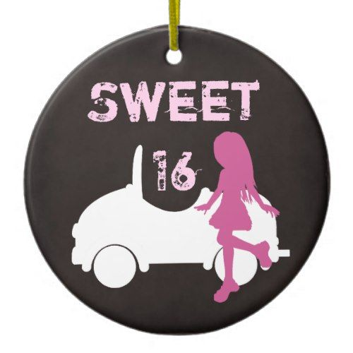 Personalized Sweet 16 Girl and Car ~ Pink, Brown Ceramic Ornament
