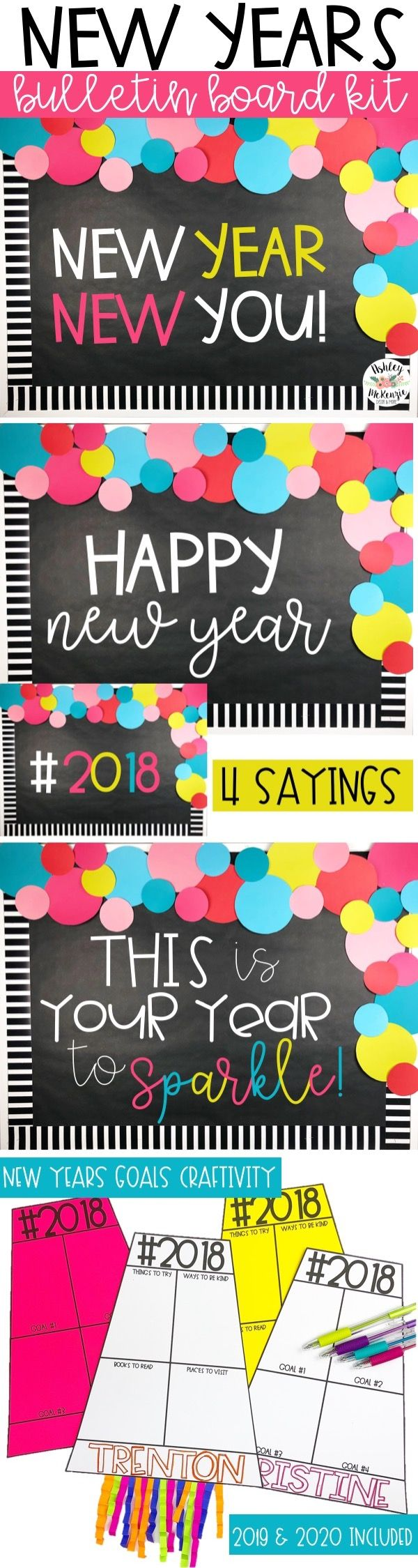 New Years Bulletin Board or Door Kit 2020 Resolutions