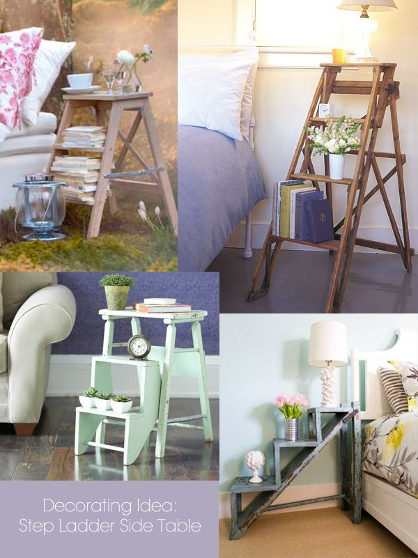 Lovely Decorating Idea: Step Ladder As A Side Table. Check Out This Post To Get