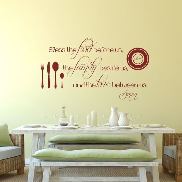 Kitchen Wall Decal Thanksgiving Bless the Food Love Inspiration Word ...