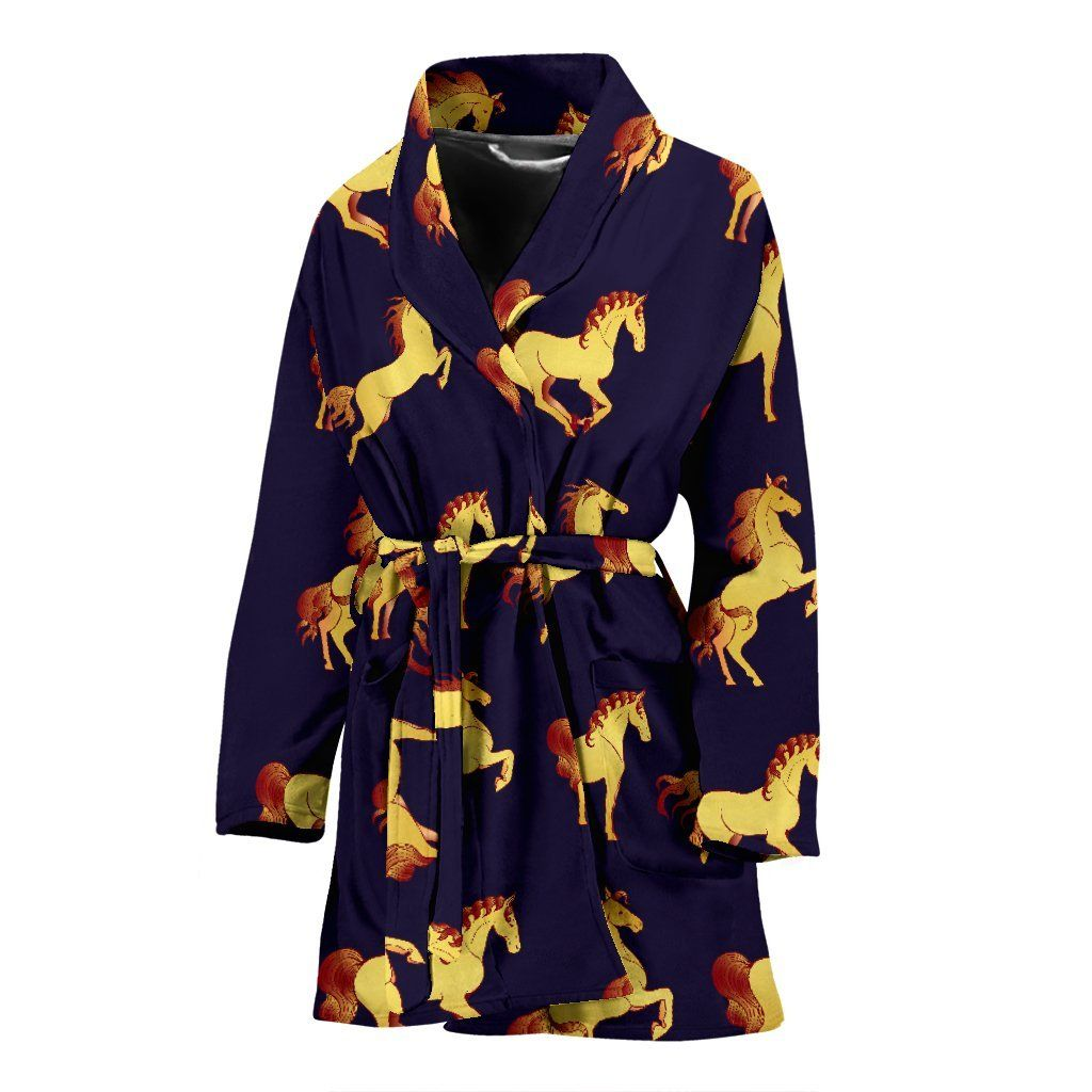 Gold Horse Pattern Women Bathrobe #horsepattern