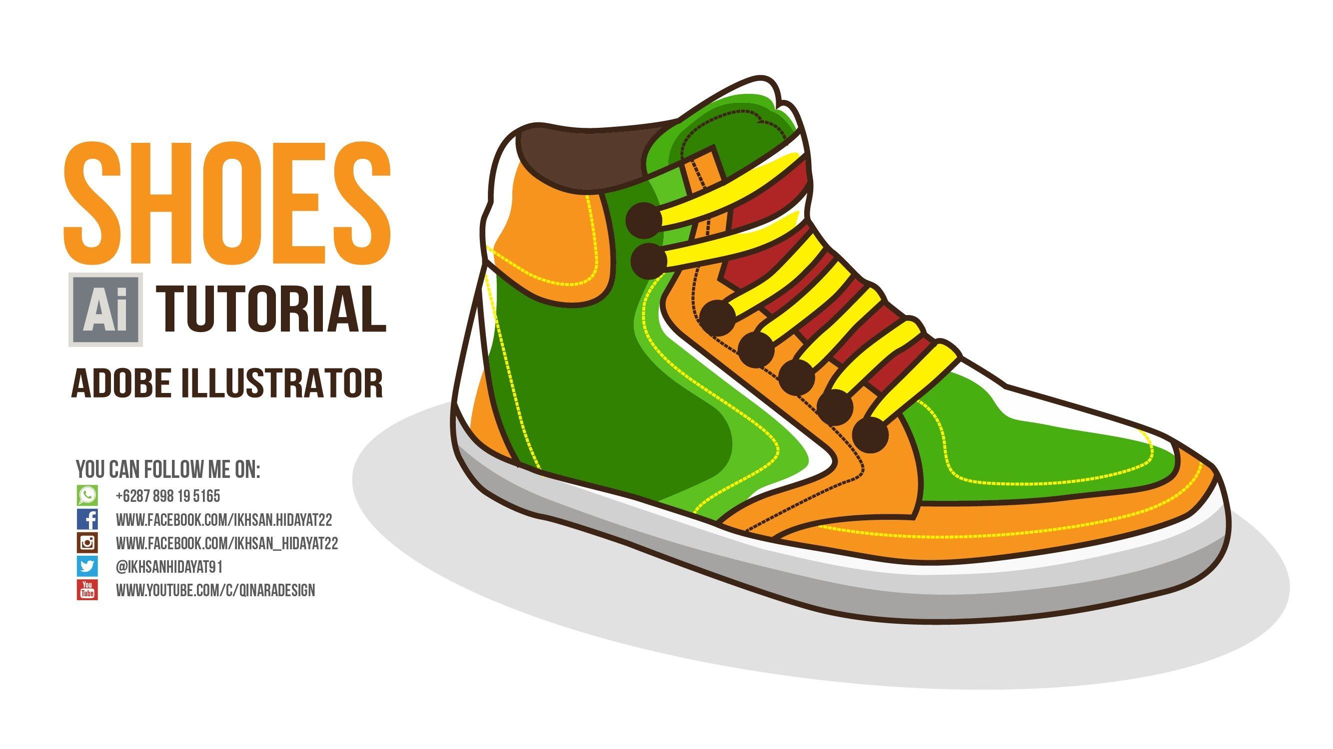 Flat Style Tutorial - How To Create Shoes Drawing Using Adobe Illustrato...