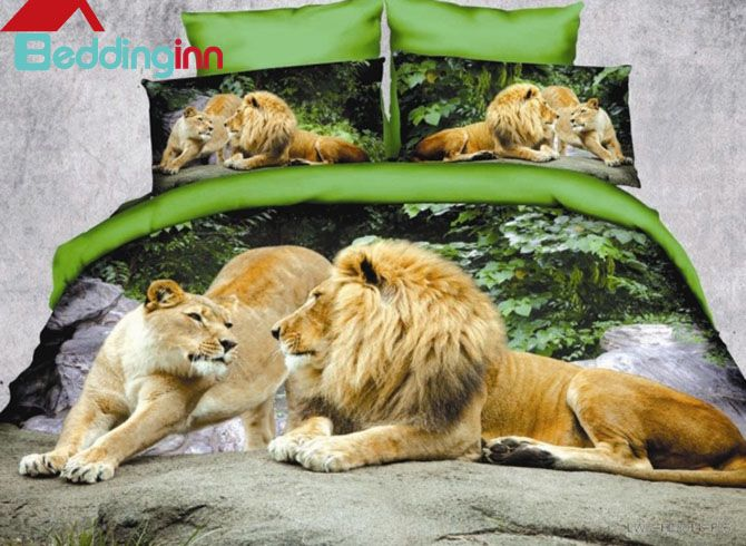 Crown Lion Couple Print Polyester #3DBedding Sets