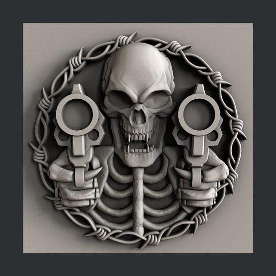 3d STL models for CNC skull guns Skull art, Skull, Cnc