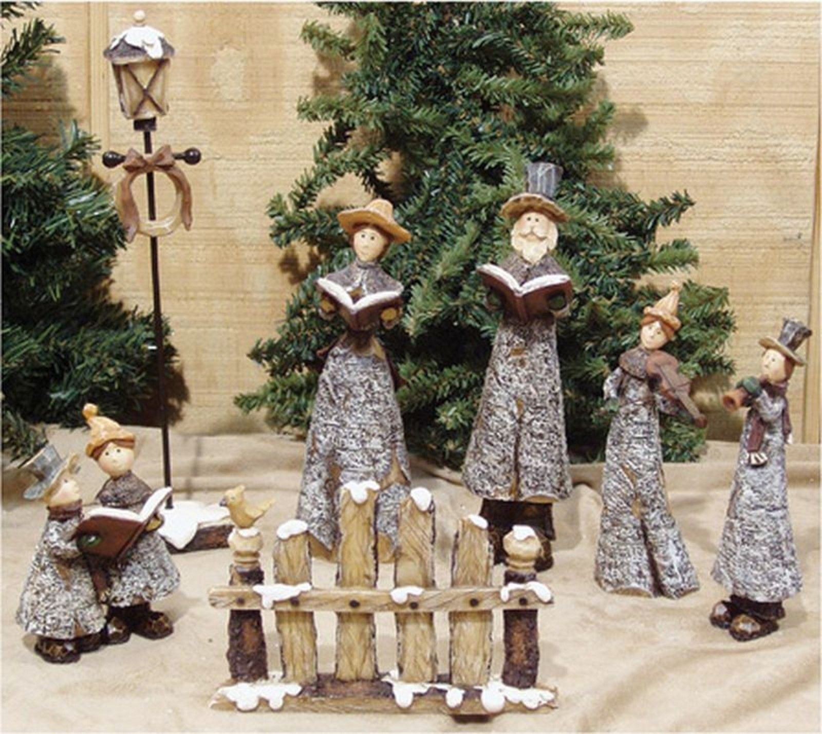 Christmas carolers figurines for sale - Figurines 117413 7pc Primitive Resin Christmas Carolers Buy It Now Only