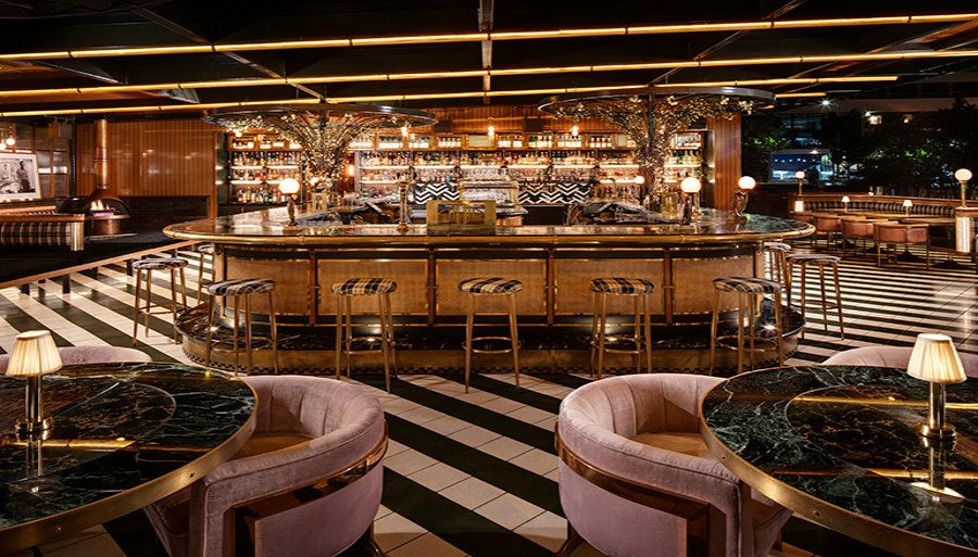 Midcentury Bar Ideas Born And Raised Rooftop Is A Show Stopping Restaurant Design Bar Interior Design Bar Design Restaurant