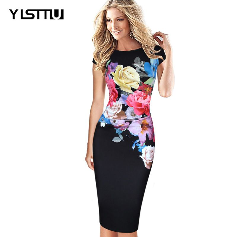 YISTTU Summer Women Bodycon Dress Plus Size 4XL 5XL Elegant Robes ...