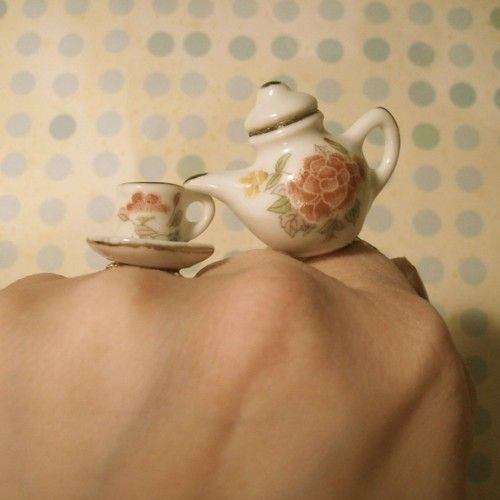 Mirco tea party, tea pot and cup. rings.