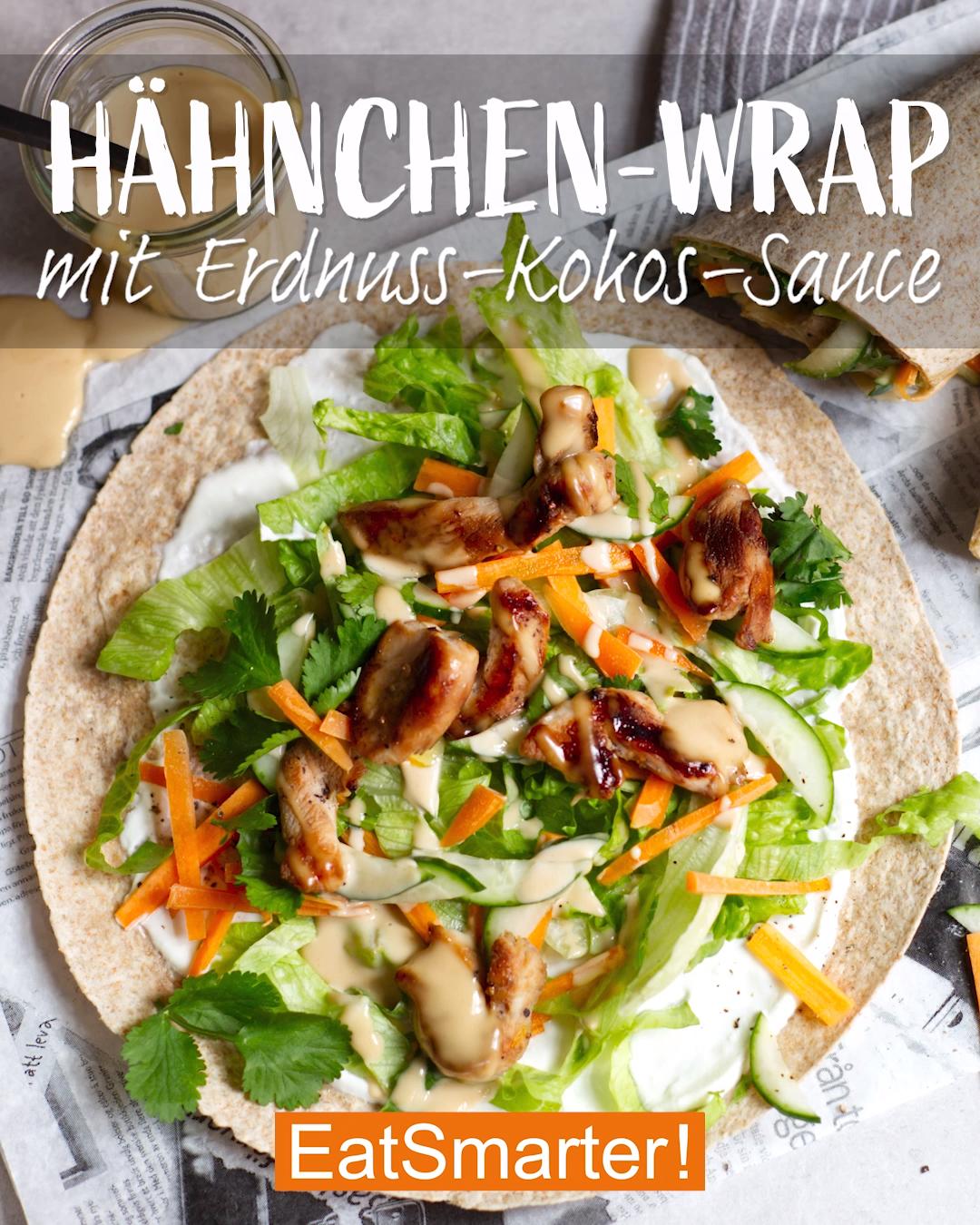 Einfaches Gericht: Hähnchen-Wrap mit Erdnuss-Kokos-Sauce   EAT SMARTER