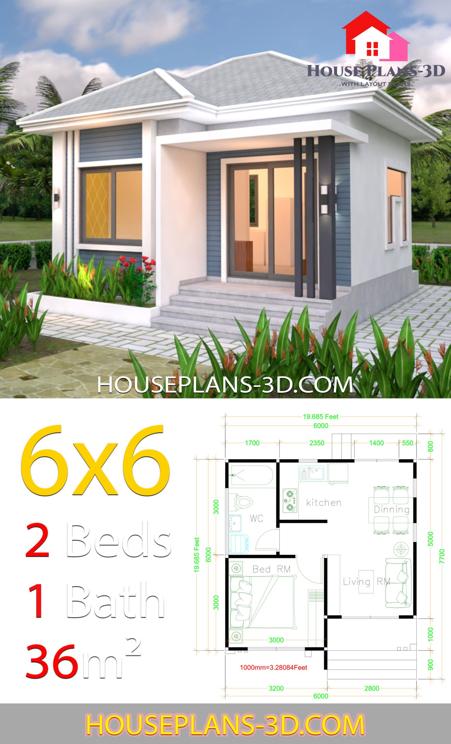 House Plans 6x6 With One Bedrooms Hip Roof House Plans 3d Flat Roof House House Plans Tiny House Plans