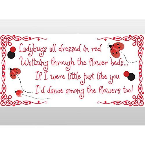 LADYBUGS ALL DRESSED IN RED WALL QUOTE DECAL VINYL LETTERING HOME DECOR