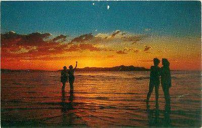 Postcard Sunset on Great Salt Lake Utah Hubert Lowman ES-38 Free US Shipping