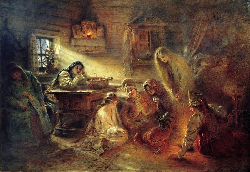"""Konstantin Makovsky, """"Fortune Telling"""" (before 1915). Peasant girls studying a pecking rooster."""