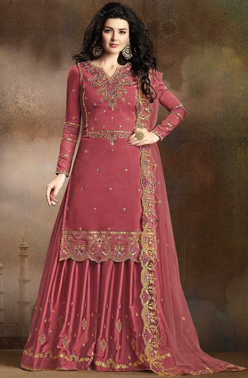Rouge Pink Designer Embroidered Art Silk Sharara Suit #shararadesigns
