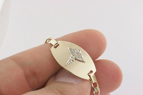 Medical Alert Jewelry For Women 10k Gold Medical Medic Id Alert Bracelet Italian Made Ebay Medical Alert Jewelry Alert Bracelet Diabetic Jewelry