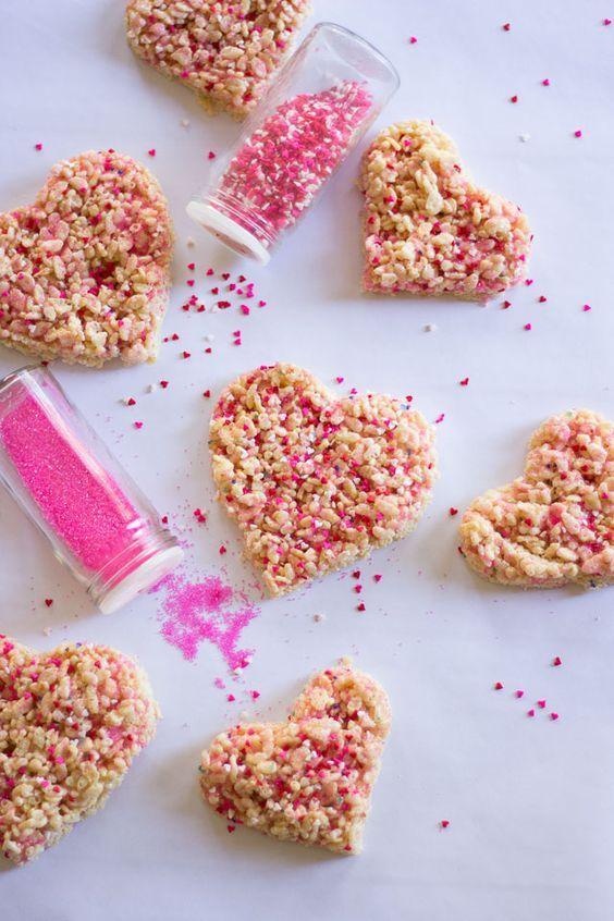 Valentine Rice Krispie Treats with Heart Sprinkles ...