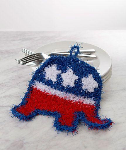 Patriotic Elephant Scrubby Free Crochet Pattern in Red Heart Scrubby ...