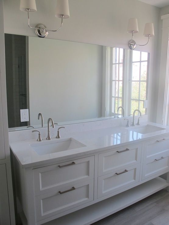 Creamy White Bathroom Cabinets Painted Benjamin Moore Dove Limestone Tiles Floor From Daltile Looks Like Wood Thomas O Brien Vendome Double Sconce