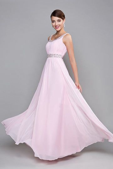 4fbb223e96b Robe de demoiselle d honneur rose longue avec bretelle