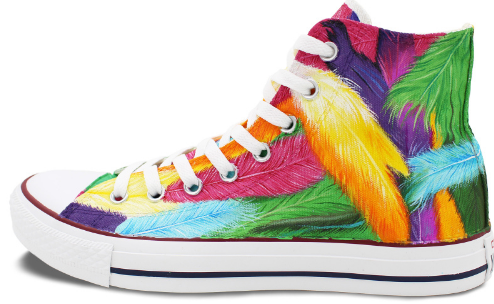 34ed5510ad64 Man Woman Shoes Custom Colorful Feathers Original Design Hand Pa ...