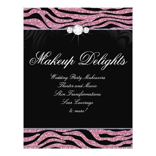 Jewelry Flyer Hair Salon Zebra Glitter Pink  Salon Flyer Template