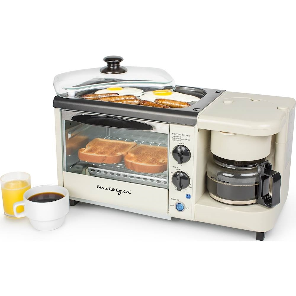 Nostalgia 3 In 1 Breakfast Station 2 Slice Toaster Oven Bisque