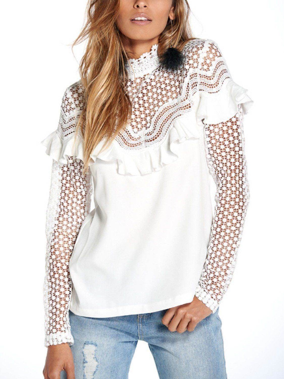 9d9805d67f513c White High Neck Long Sleeve Ruffle Cut Out Sheer Lace Blouse ...