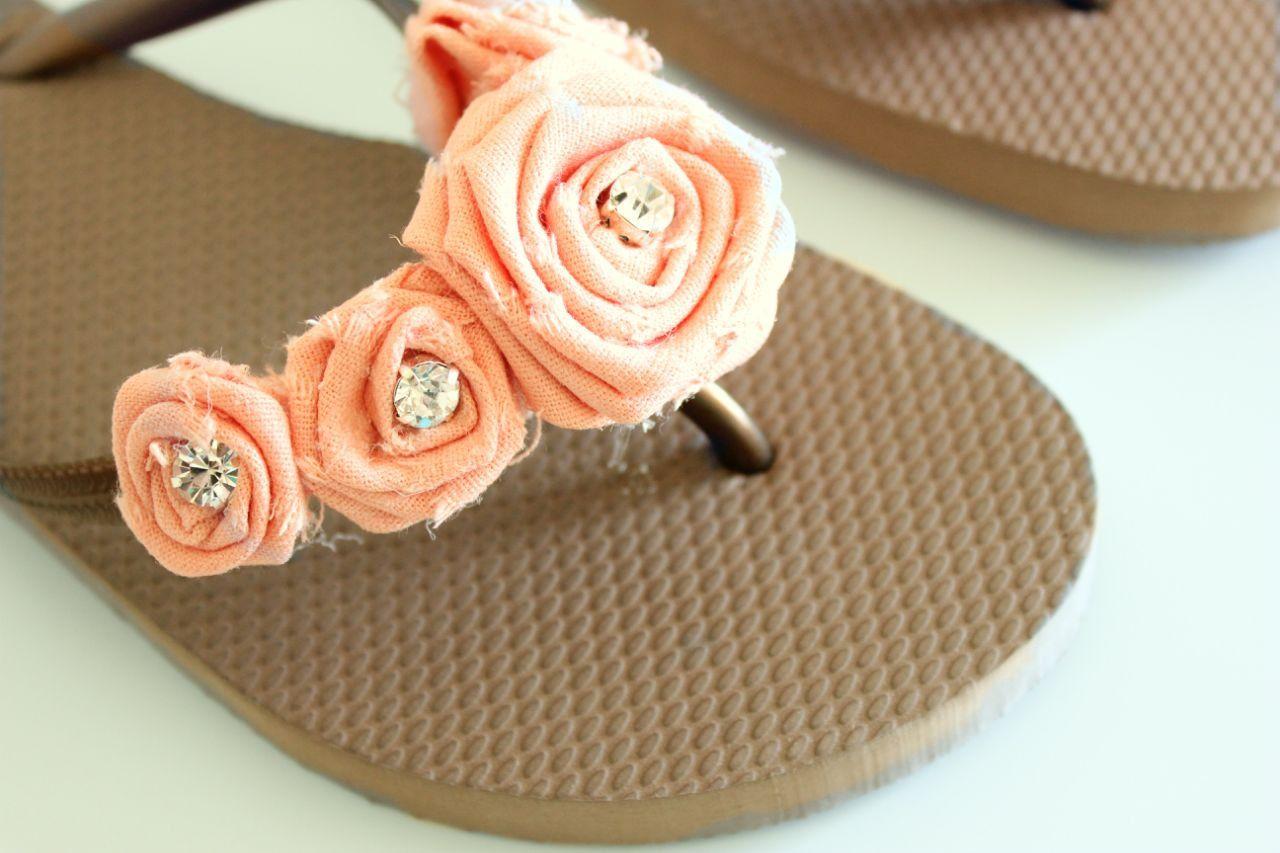dbef3ad7d084 women s rosette flip flops   coral-peach   brown   bridesmaid gift   bride  shoes.  25.00
