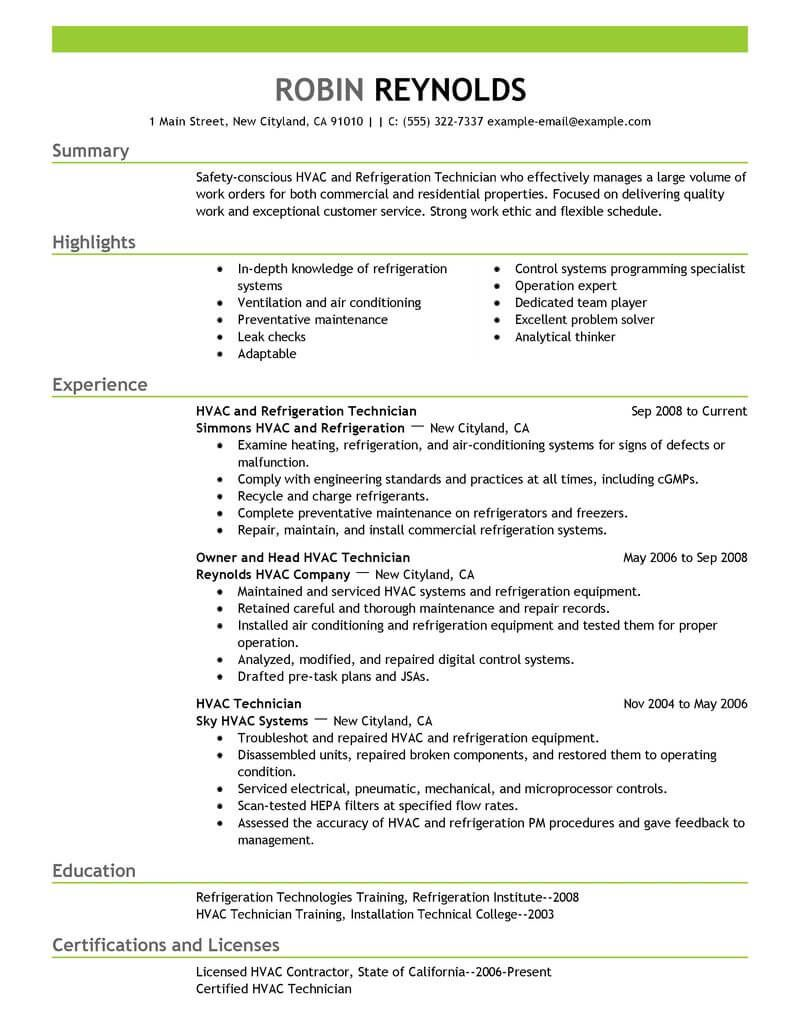 A C Technician Resume examples, Resume, Sample resume