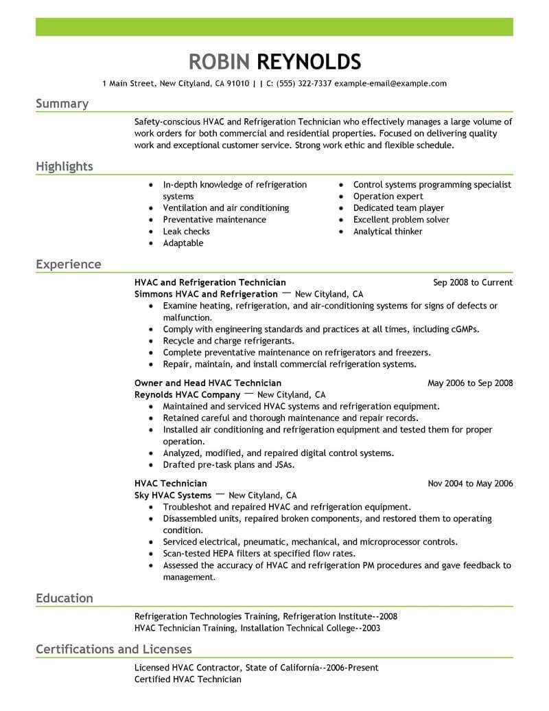 A C Technician Resume Format ResumeFormat