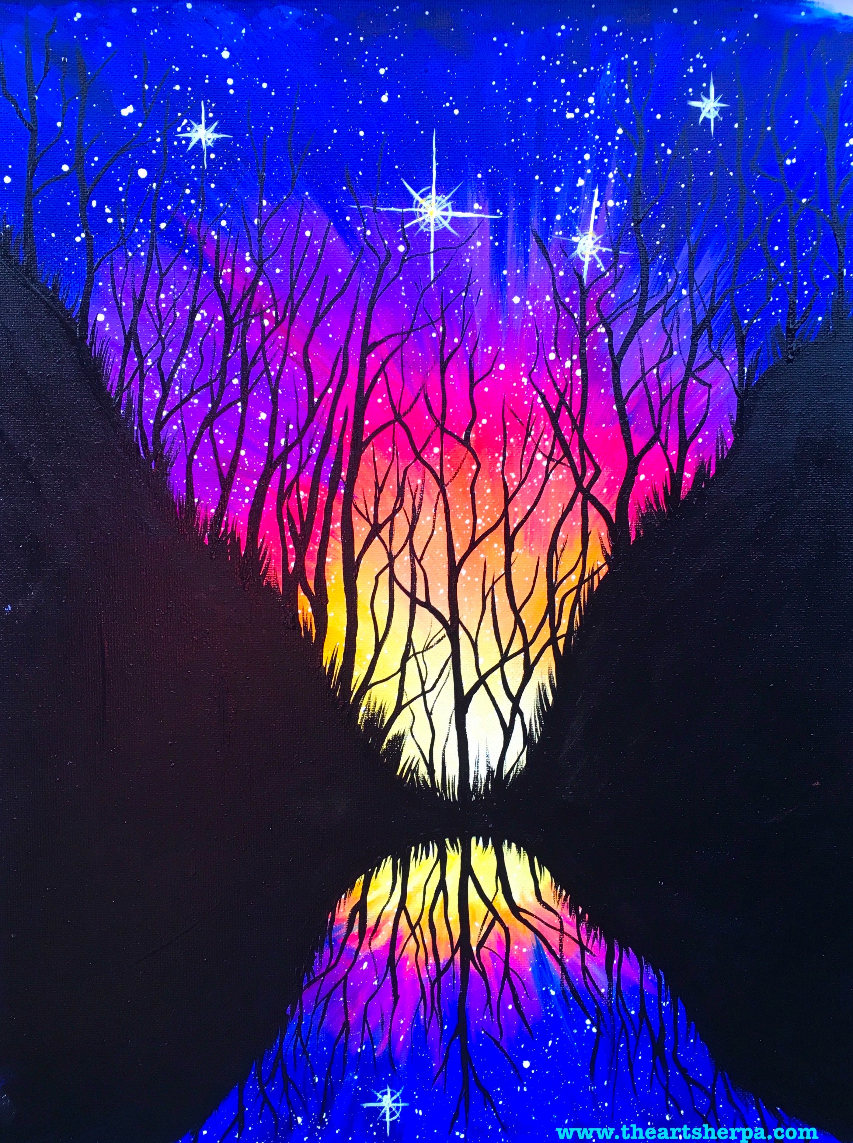 Celestial mirror a galaxy painting fully guided step by for Step by step acrylic painting tutorial
