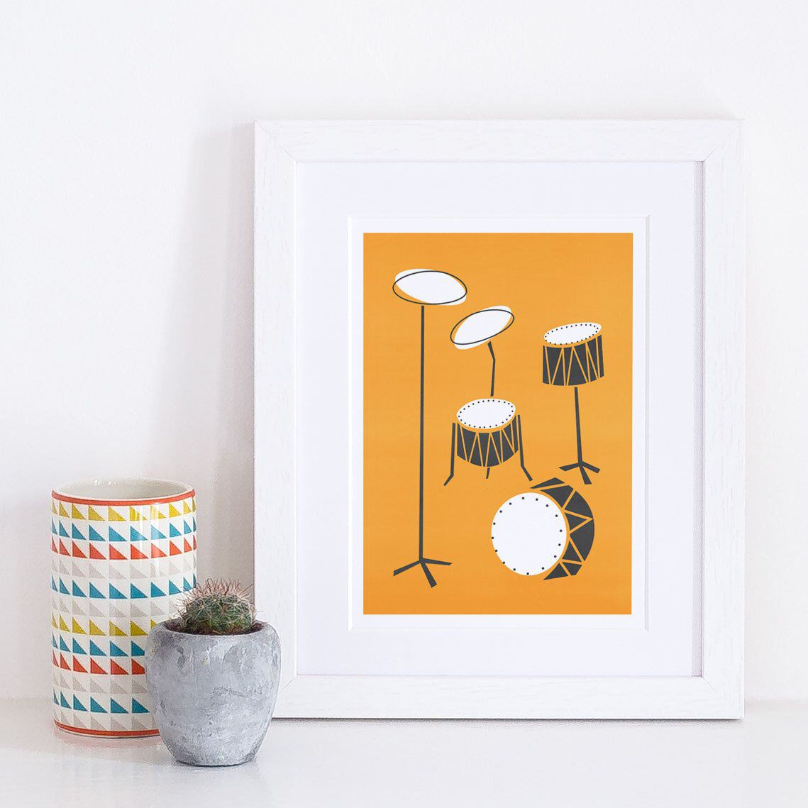 Drums Print Music Art Mid Century Modern Gift For Dad