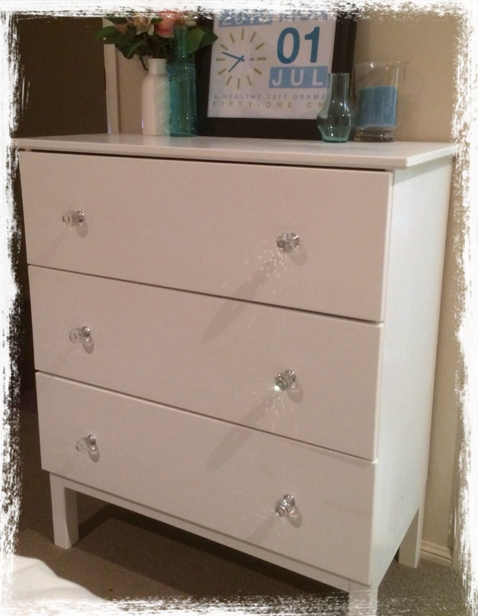 crystal furniture knobs. painted white with crystal drawer knobs. used for baby drawers. furniture knobs