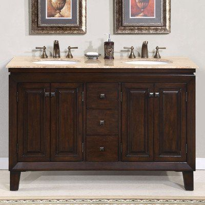 Silkroad Exclusive Travertine Top Double Sink Bathroom Vanity