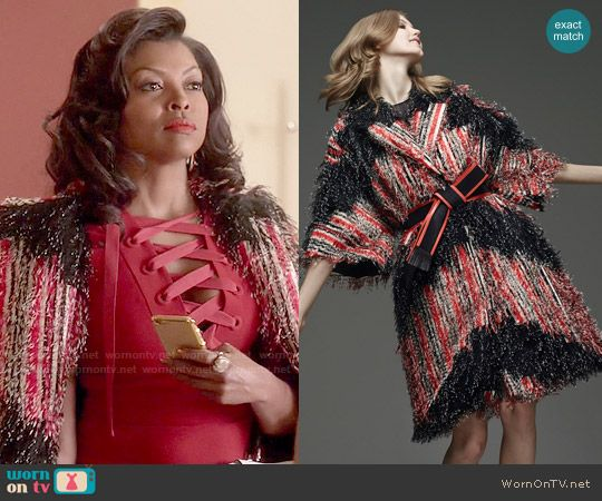 a2d20f90f46 Cookie s red textured coat on Empire. Outfit Details  http   wornontv.