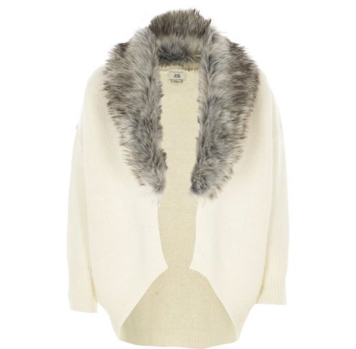 81c339be6 Checkout this Girls cream faux fur trim cardigan from River Island ...