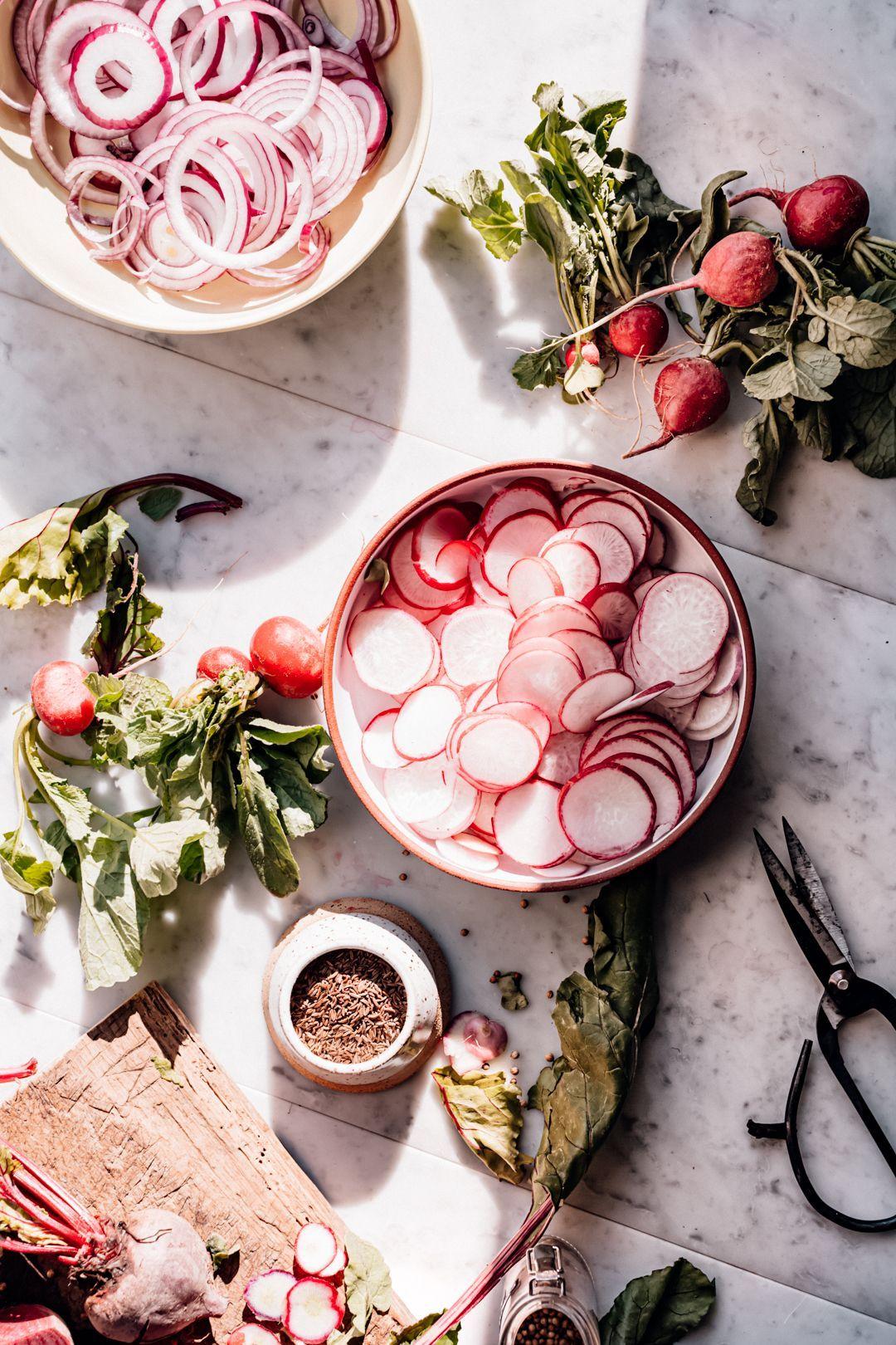 Quick Pickled Veggies - Christiann Koepke #food #foodphotography #foodstyling #healthyfood #healthyrecipes #pickledveggies #fermentedrecipes #veggies #vegetables #vegetarian #vegan