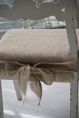 burlap chair pads for my kitchen chairs. I wonder if they