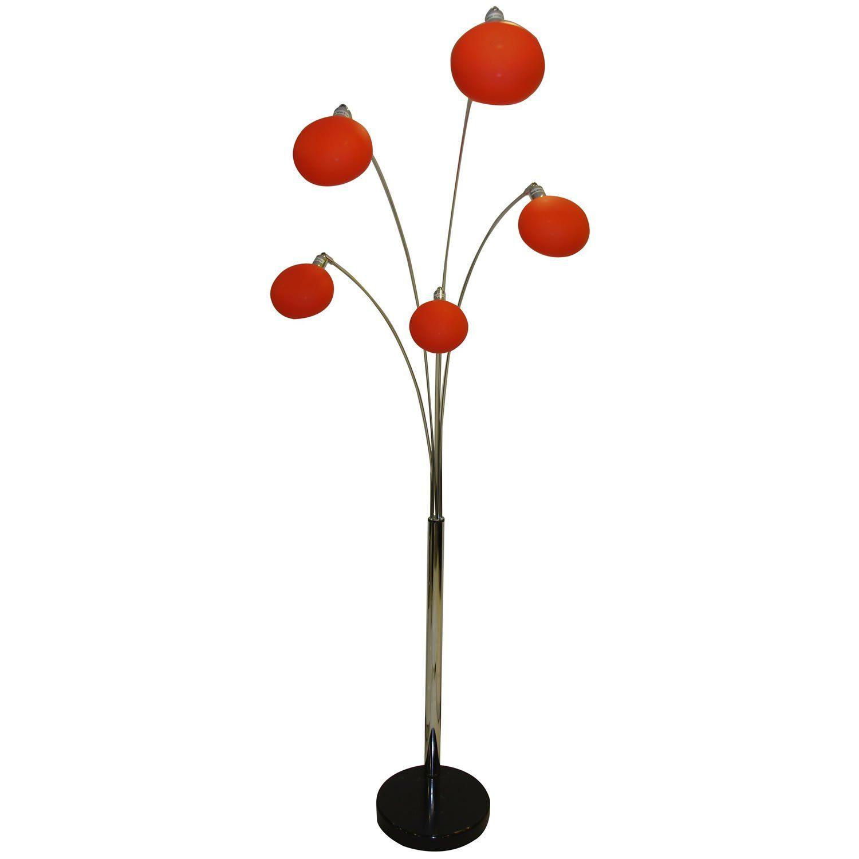 Giatalia Armada 5 Arm Floor Lamp in Orange - Floor Standing Lamp ...