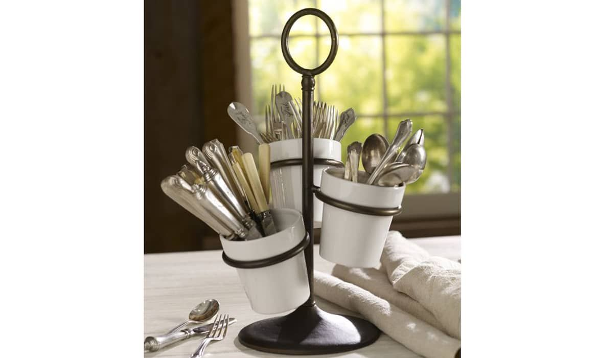 Ceramic Utensil Caddy Cast Base Stand 3 Tiers