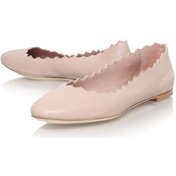 Chloe Pale Pink Suede Scalloped Ballet